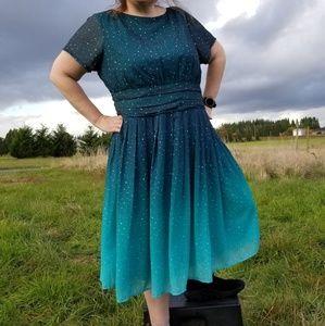 3X 26W eShakti green ombre star dress